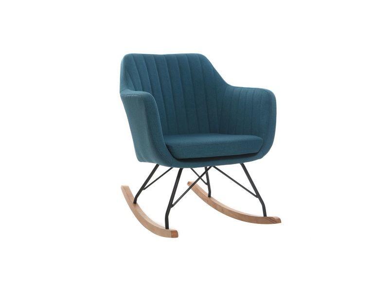 Fauteuil Rocking Chair Scandinave Tissu Bleu Canard Aleyna Vente