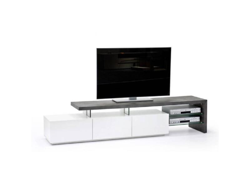 Meuble Tv Design Alrik 3 Tiroirs Laque Blanc Mat Et Beton