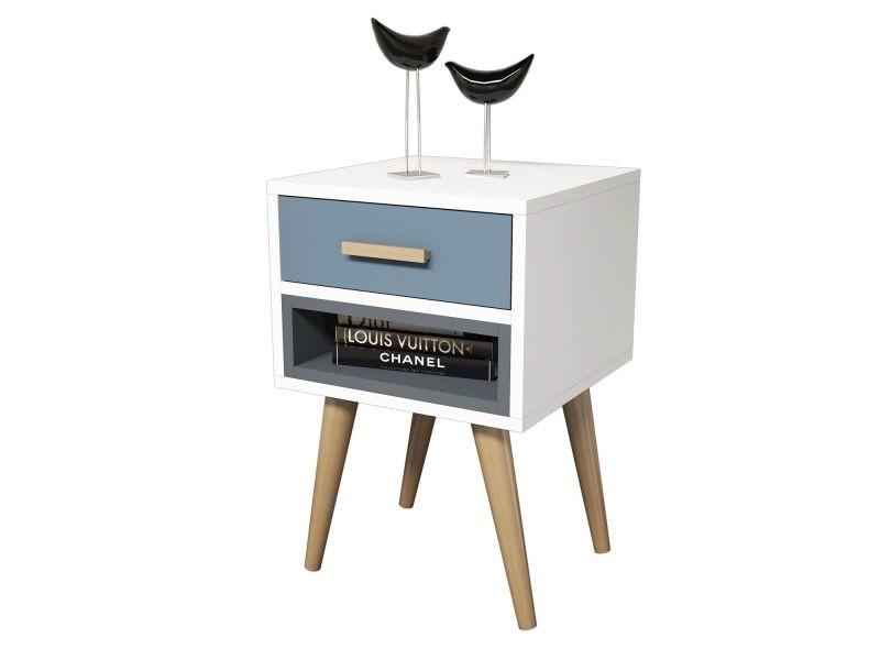 Table de chevet design safir - l. 40 x h. 61 cm - gris