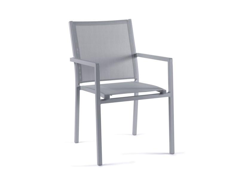 Chaise en alu gris textilène gris clair brian