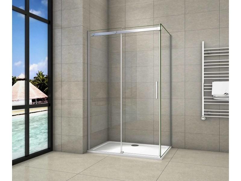 Porte de douche coulissante 110x90x195cm cabine de douche verre anticalcaire paroi de douche