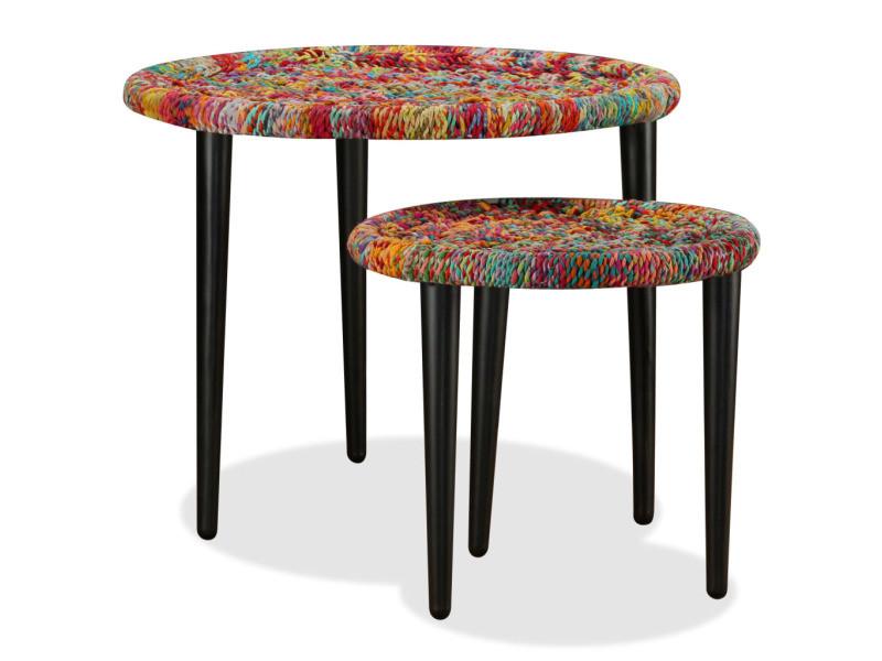 Vidaxl table basse 2 pcs détails tissés chindi multicolore 244213