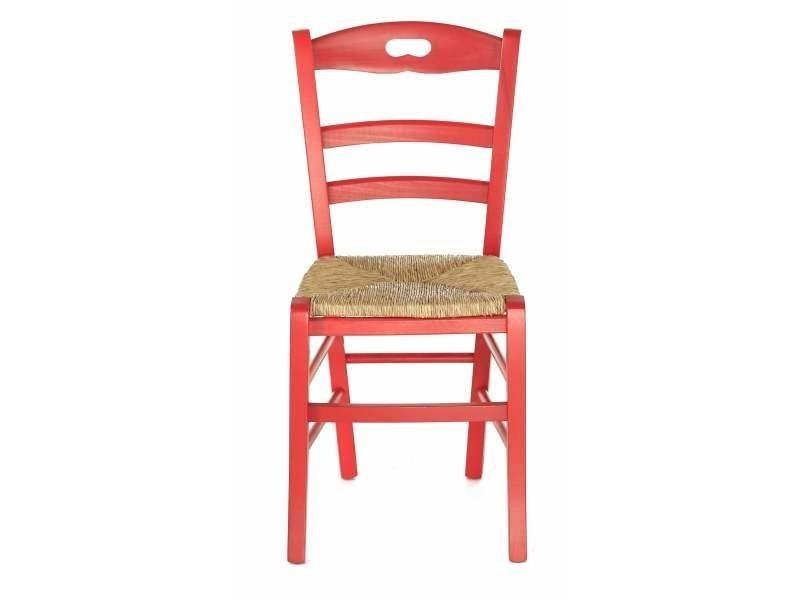 2x Chaise Htre Massif Rouge Cusson Assise Paille Vieugy PI CHAISE32 PARENT