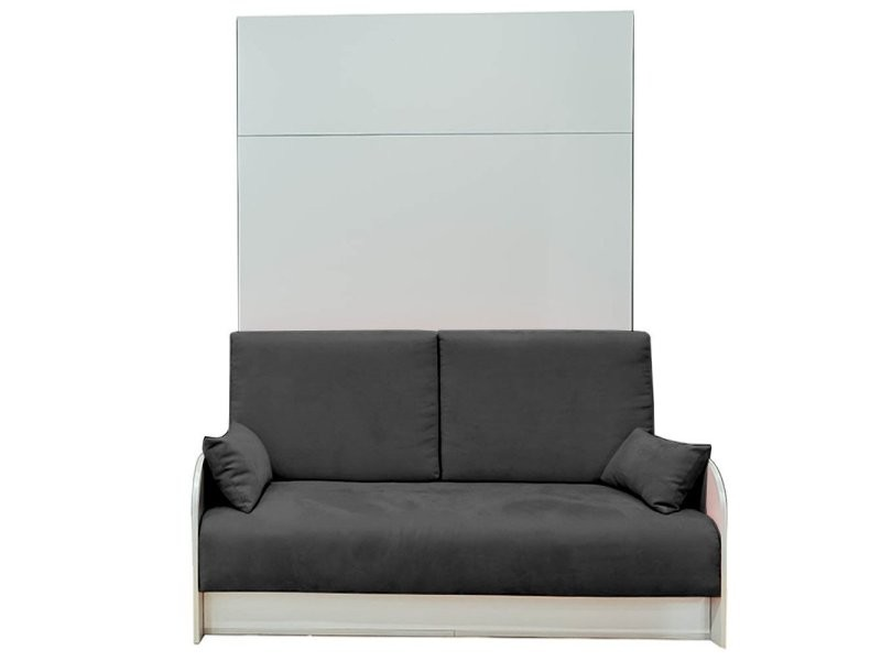 armoire lit escamotable 140cm box canap coffre intgr tissu gris graphite 20100876696 vente de armoire conforama - Armoire Lit Escamotable Canape Integre