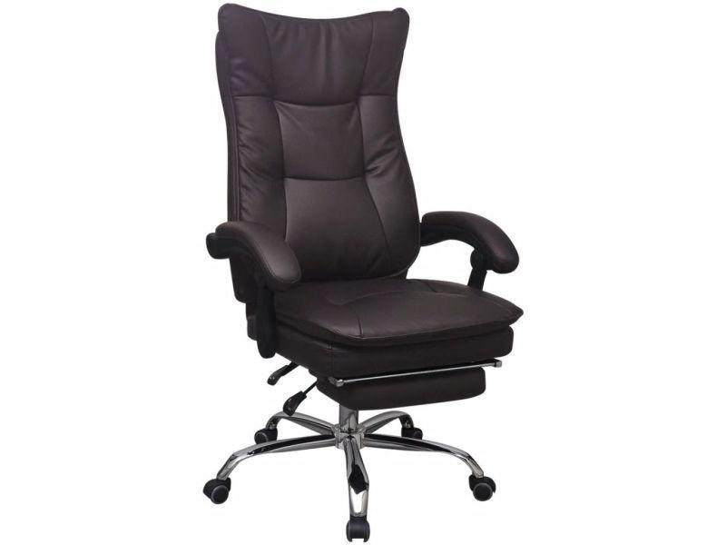 Vidaxl chaise de bureau inclinable avec repose pieds marron