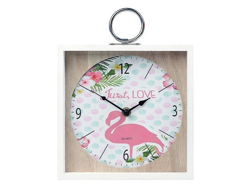 Horloges murales et de table chic horloge murale flamenco rose (20 x 5 x 20 cm) 110822