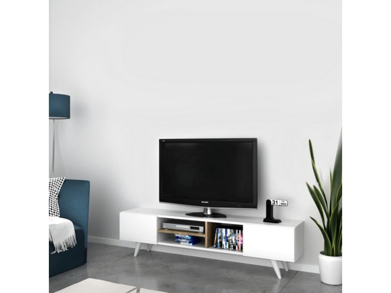 meuble tv scandinave dore 160 x 40 cm blanc conforama. Black Bedroom Furniture Sets. Home Design Ideas