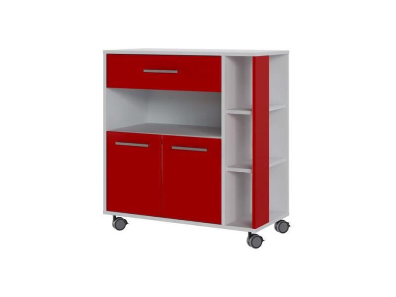 Eco desserte 2 portes 1 tiroir - blanc et rouge - l 80 x p 39 x h 87 cm