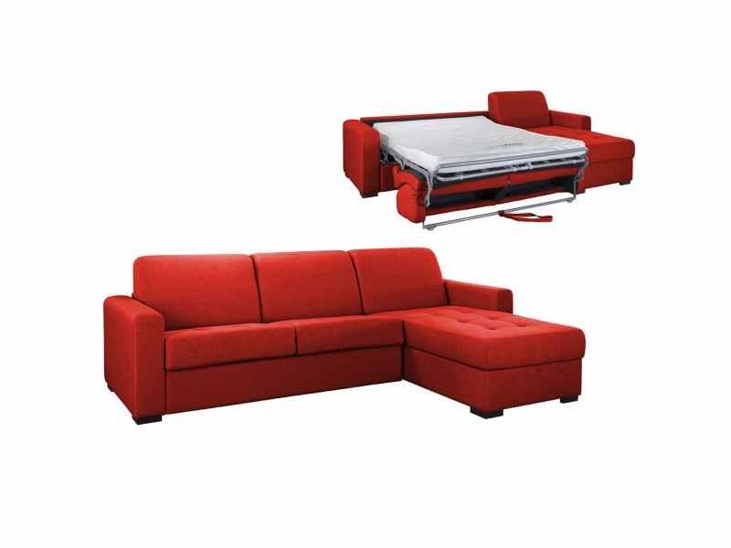 Canapé d'angle réversible convertible louna en tissu rouge avec coffre de rangement