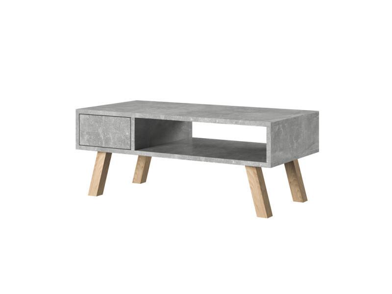 Table Basse Vero Bois Couleur De Béton Pieds En Bois De Hêtre
