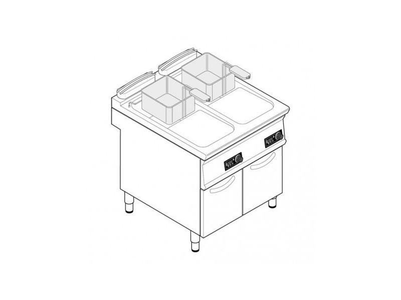 Friteuse sur coffre électrique - 2 x 21 litres - commandes électroniques - tecnoinox -