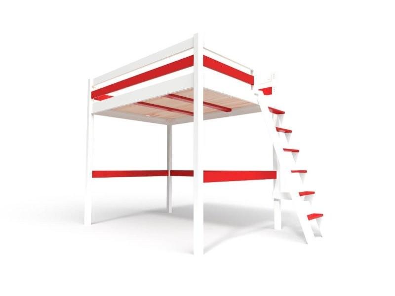 Lit mezzanine sylvia avec échelle bois 160x200 blanc/rouge SYLVIA160ECH-LBRed