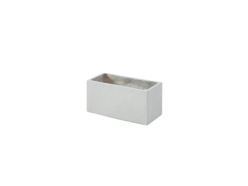 Bac a fleurs en fibre de verre style ciment - 44 x 22 x 20 cm - 20 l - gris clair