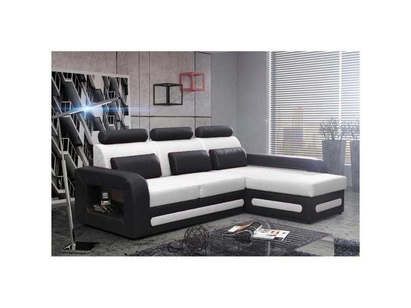 Canapé d'angle convertible avec coffre bergamo mini - angle droit - pu blanc/noir