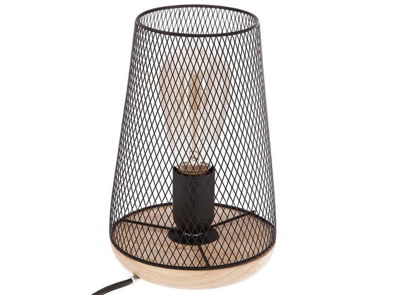 Métal 23 Cm Poser Lampe En Et Bois Noir À Pegane Coloris H Yf76Iybgmv