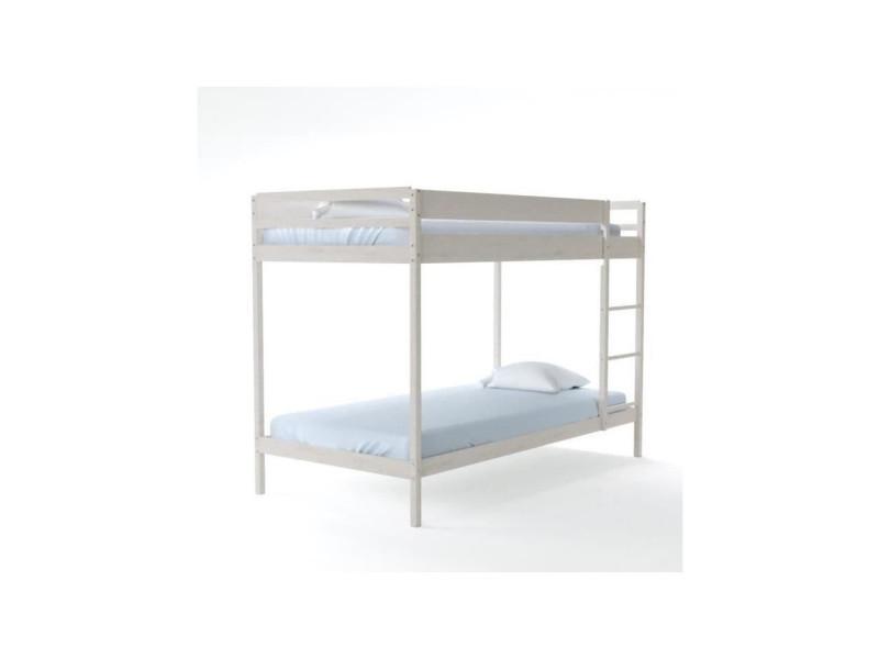 lit superpos brice 90x190 2 sommiers blanc 642313 vente de lit enfant conforama. Black Bedroom Furniture Sets. Home Design Ideas
