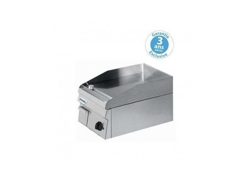 Plaque à snacker gaz - lisse simple - 346 x 520 mm - gamme 600 - tecnoinox - inox