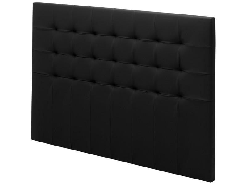 Tete de lit charme capitonnée simili noir l.190 TCAP190CN