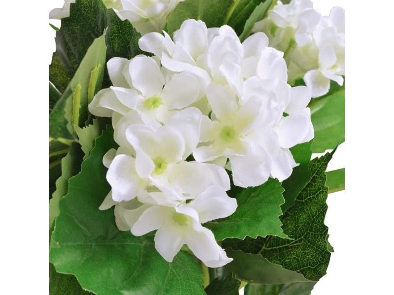 Icaverne - fleurs et plantes artificielles ensemble plante hortensia artificielle avec pot 60 cm blanc