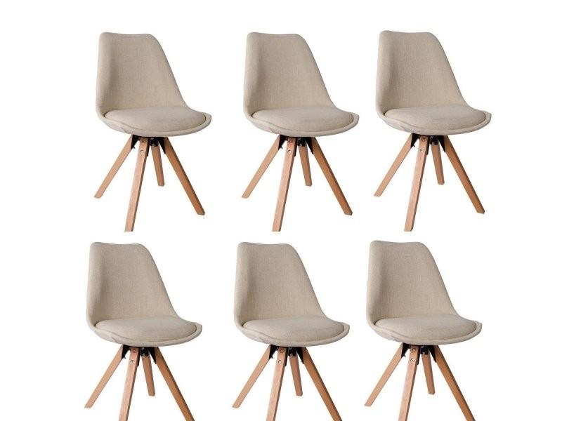 Lot de 6 chaises de salle à manger scandinave en tissu crème pieds en bois  cds09246 - Vente de Chaise - Conforama cf9080c3798f