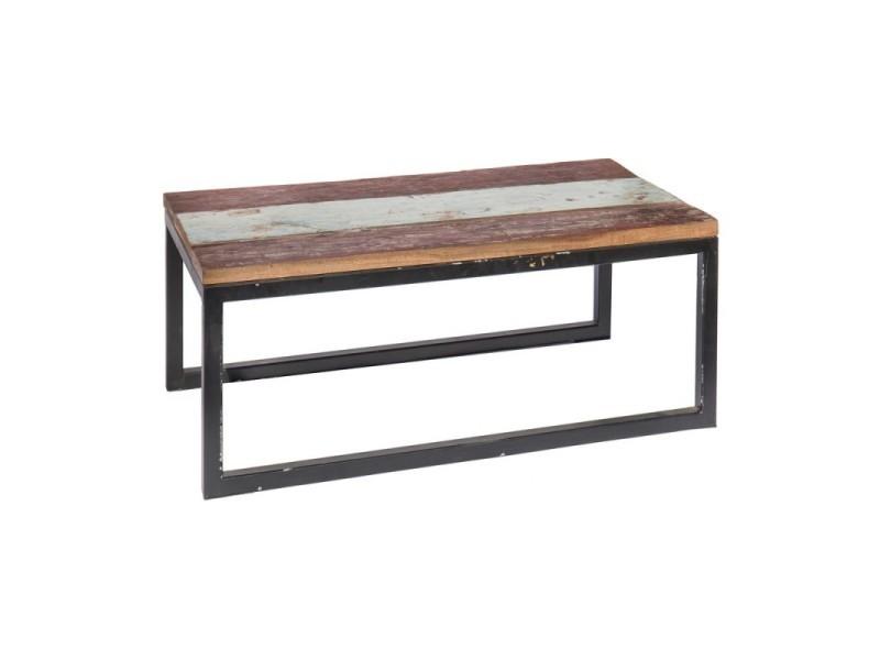 Table de salon de jardin rectangulaire 90cm en teck et fer ciudad ...