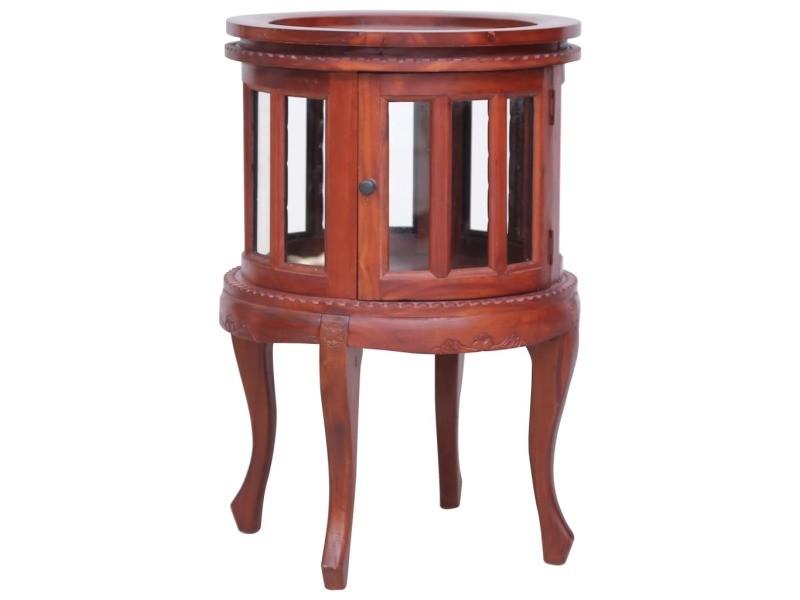 Splendide tables basses et tables d'appoint ligne vatican armoire de vitrine marron 50x50x76 cm bois d'acajou massif