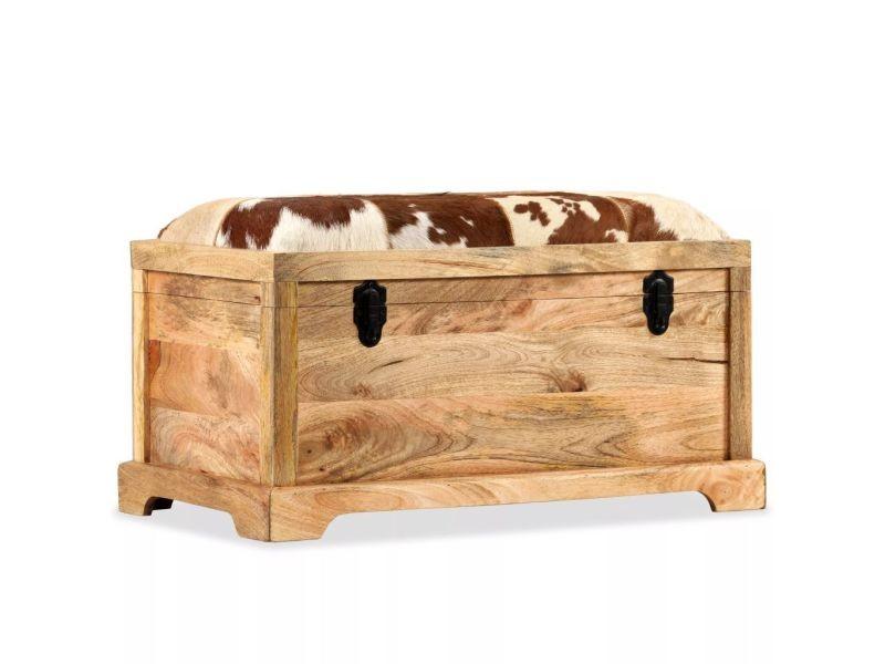 Moderne bancs famille saint-marin banc de rangement cuir véritable bois de manguier 80x44x44 cm