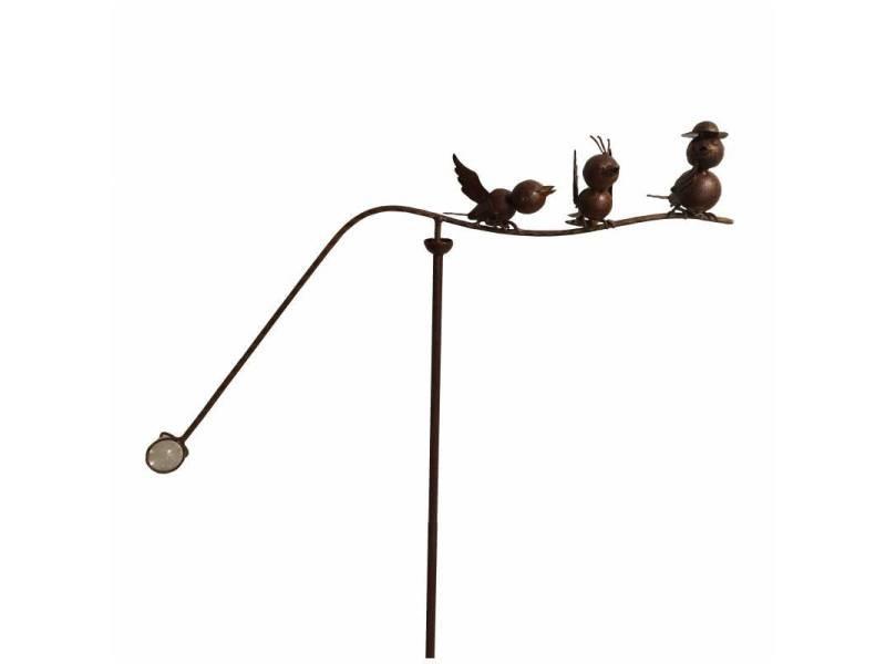 Tuteur tige pour plantes motifs oiseaux mobile de jardin rotatif à planter en métal patiné marron et verre 15,5x61x127cm