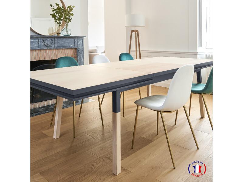 Table extensible bois massif 160x90 cm bleu sombre de rance - 100% fabrication française