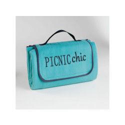 Plaid pique-nique 125x150cm bicolore garden aqua/anthracite