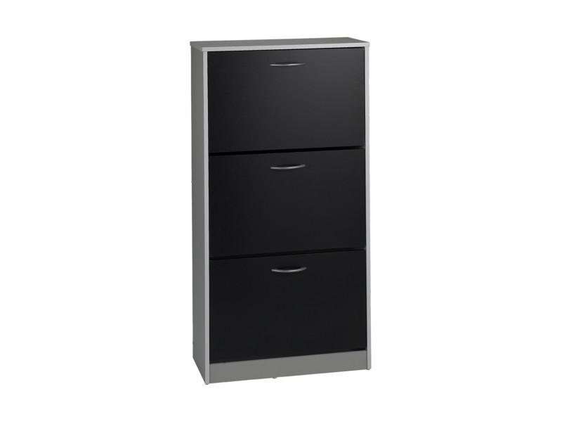 Scarpa meuble a chaussures contemporain noir et gris clair mat - l 63 cm -  Vente de Meuble à chaussures - Conforama 06a0524fd636