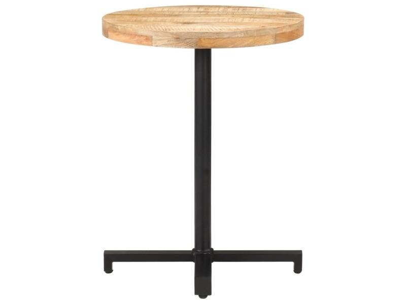 Vidaxl table de bistro ronde ø60x75 cm bois de manguier brut 320265