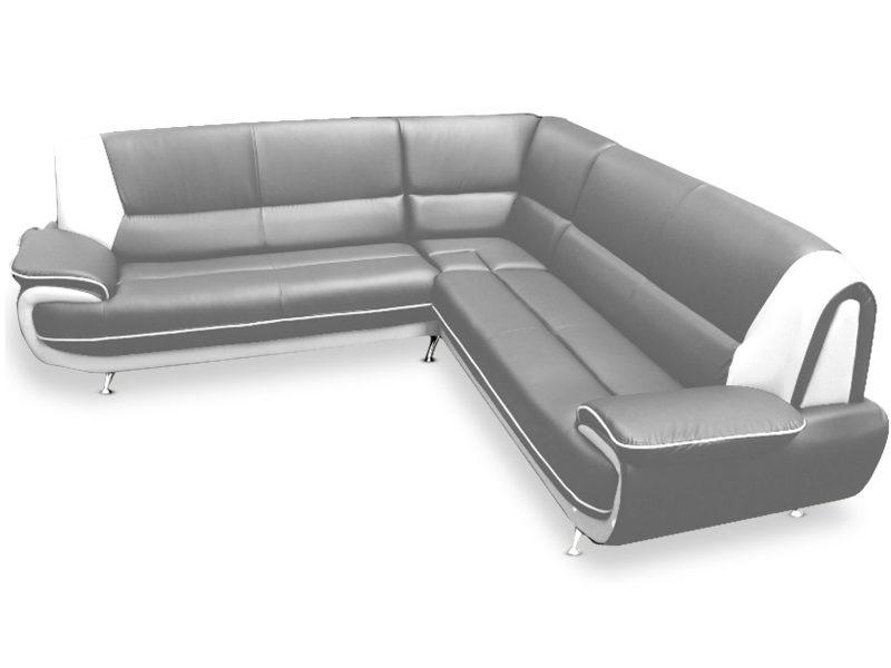 Canapé d'angle palermos simili gris et blanc