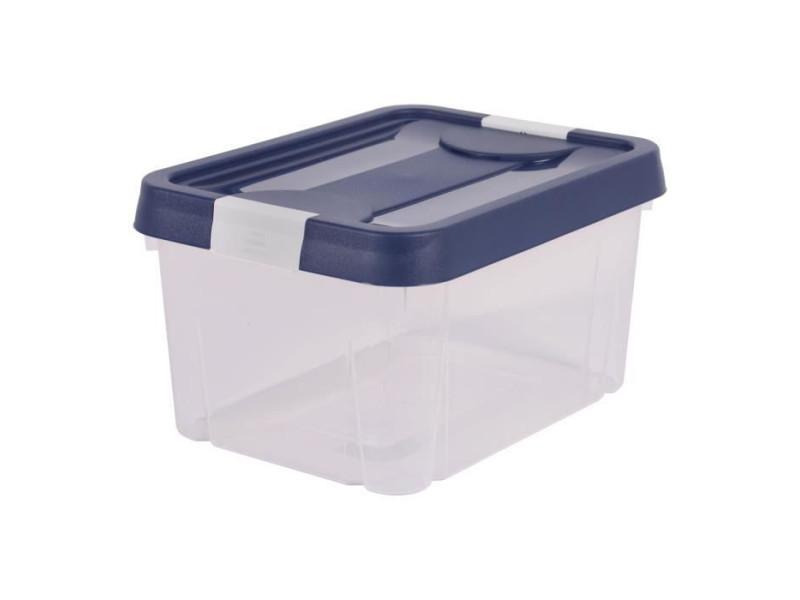 Eda plastique boite de rangement clippy 9 l - naturel avec couvercle bleu et poignees blanc ceruse - 31 x 23,6 x 16,8 cm EDA3086960244484