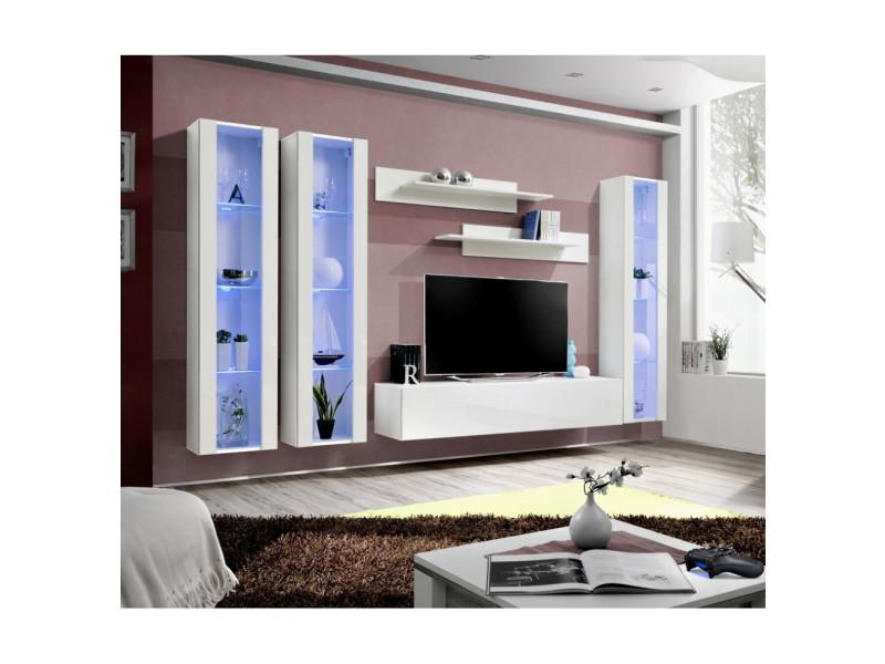 Ensemble meuble tv mural - fly ii - 310 cm x 190 cm x 40 cm - blanc