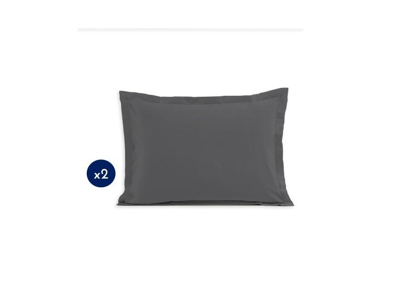 Lot de 2 taies d'oreiller - rectangulaire 50x70 cm - coton - gris foncé 61345