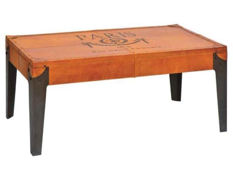 Table basse simple en métal et cuir coloris orange - dim : l 110 x p 60 x h 45 cm - pegane -