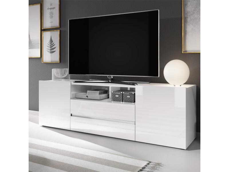 Meuble Tv Meuble De Salon Bros 140 Cm Blanc Mat Blanc Brillant Sans Led Vente De Meuble Tv Conforama