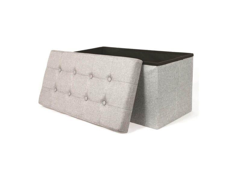 Colla - banc-coffre pliable capitonné tissu gris chiné