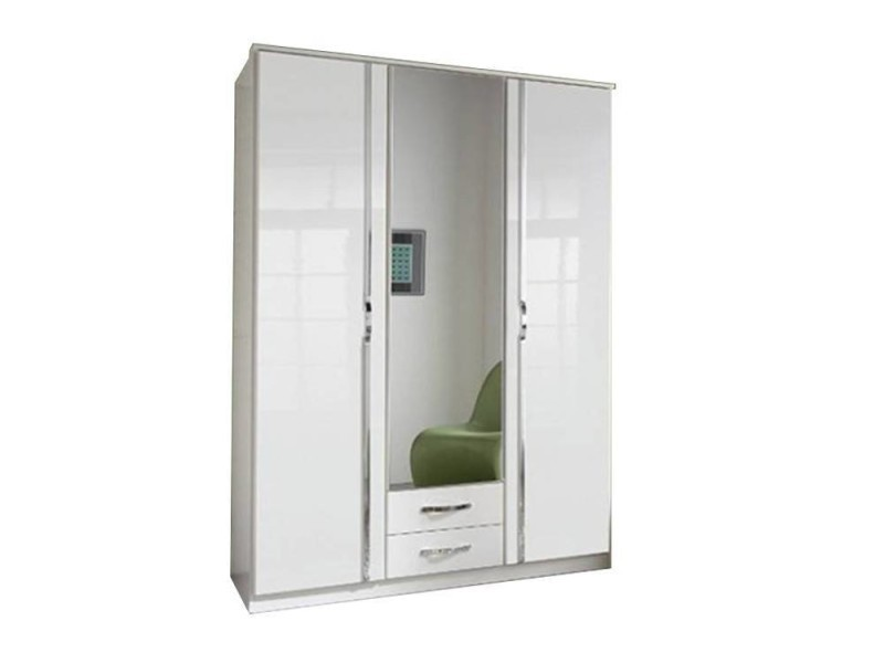 armoire penderie kroos blanche avec miroirs 3 portes. Black Bedroom Furniture Sets. Home Design Ideas