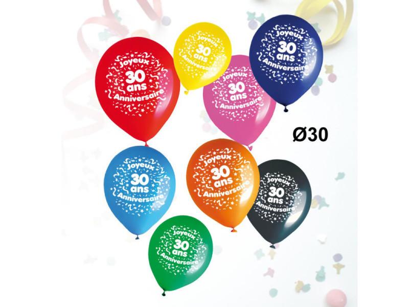 Sachet de 8 ballons âge anniversaire - ballons anniversaire 30 ans - ballons anniversaire 30 ans