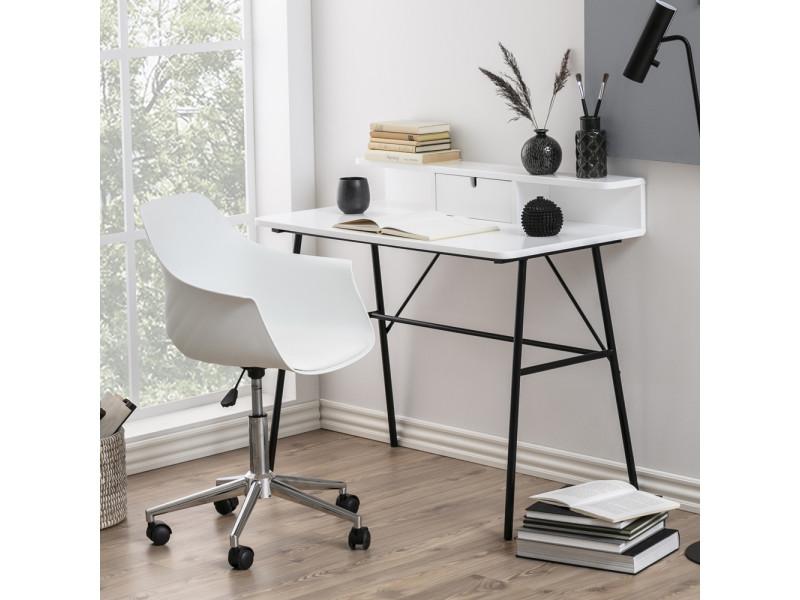 Bureau design - brova - 100 cm - blanc / noir - avec tiroir