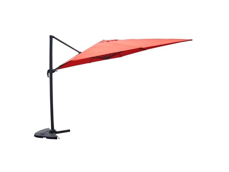 Panaro terracotta : parasol déporté, rectangulaire de 3x4m, rotatif à 360° 1323