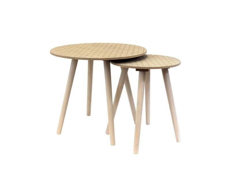 set de 2 tables rondes gigognes grises vente de the concept factory conforama. Black Bedroom Furniture Sets. Home Design Ideas