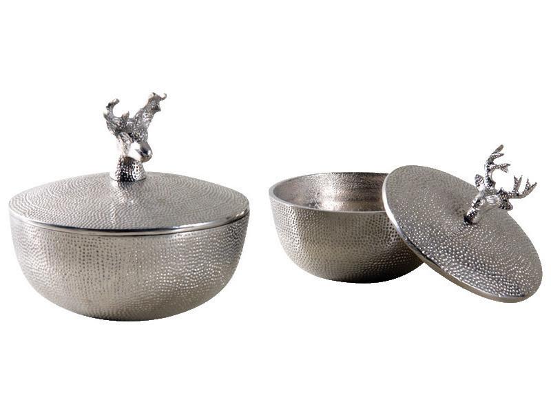 Aubry gaspard - boites rondes cerfs en aluminium (lot de 2)