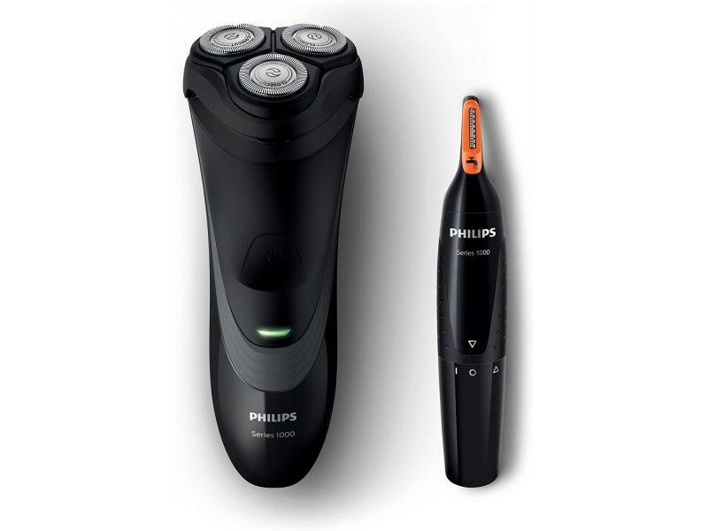 Coffret rasoir électrique et tondeuse électrique noir gris