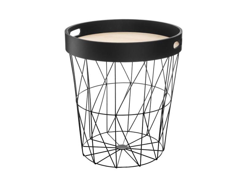 Atmosphera - table à café en métal noir avec plateau amovible