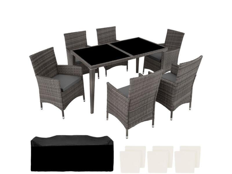 Salon de jardin rotin résine tressé synthétique 6 places avec 2 sets de housses gris helloshop26 2108115