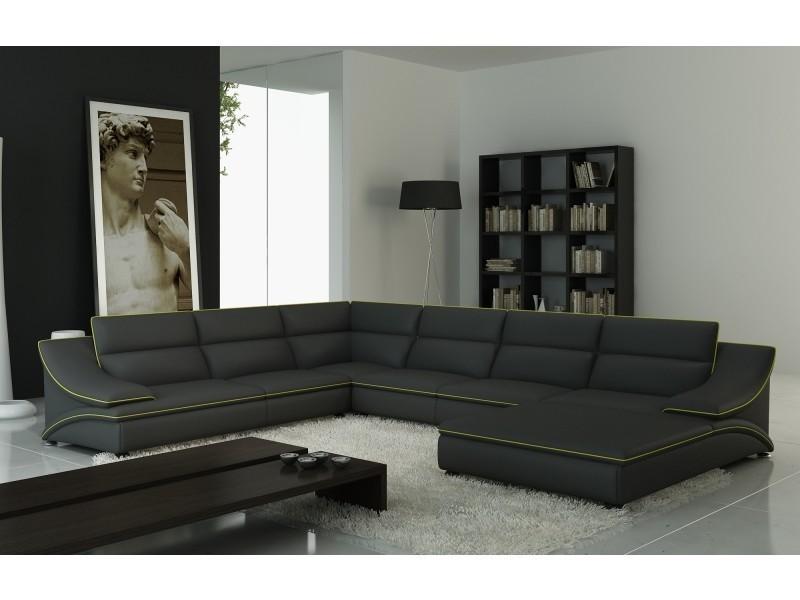 Canapé d'angle en cuir gris et vert design roxane-