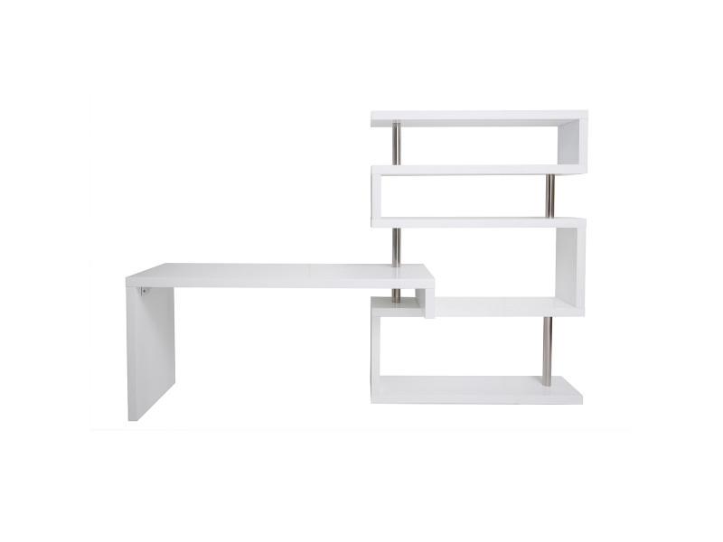 Bureau design blanc laqué amovible t max vente de bureau conforama